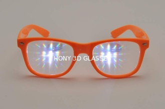 3D Fireworks Glasses , Promotion Orange Frame Eye Wear Glasses